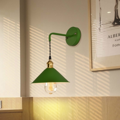 Nordic 1 Light Cone Wall Light in Metal Shade for Bedside Hallway Foyer