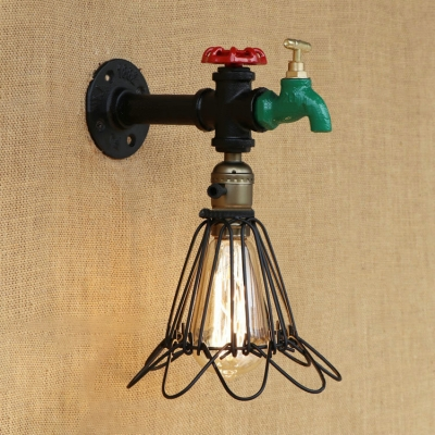 Industrial Wall Sconce with Valve and Metal Cage in Black