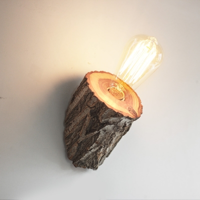 Industrial Wall Sconce with Wooden Lamp Base in Bare Bulb Style
