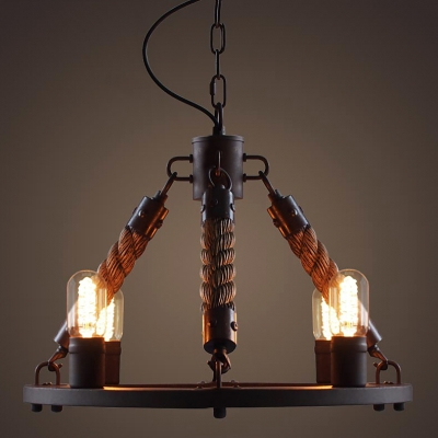 Olde bronze finish industrial led chandelier pendants with 4 manila olde bronze finish industrial led chandelier pendants with 4 manila rope arm aloadofball Choice Image