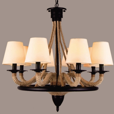 Industrial 8 Light Chandelier with Rope Fixture Arm in Vintage Style