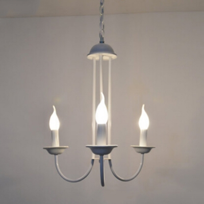 Industrial Vintage 3 Light Chandelier in Palace Style, White