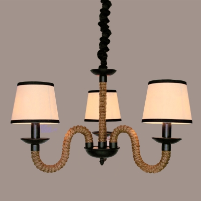 Industrial Vintage 3 Light Chandelier with Gooseneck Fixture Arm in Rope Style