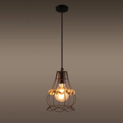 industrial pendant light in rope style with metal cage