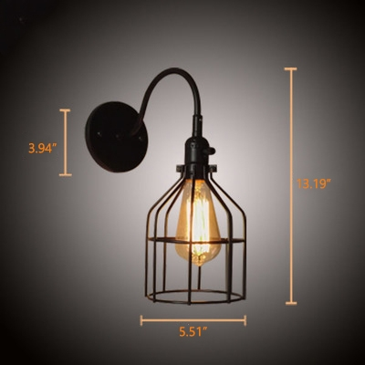 Industrial Wall Sconce with 5.51''W Metal Cage Frame in Barn Style