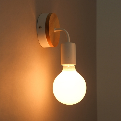 Industrial Mini Wall Sconce with Wooden Canopy in Black/White