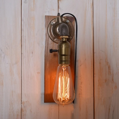 Industrial Pipe Wall Sconce With Wooden Lamp Base In Bronze Finish