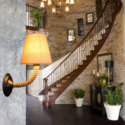 Industrial Wall Sconce with Rope Fixture Arm and Fabric Shade