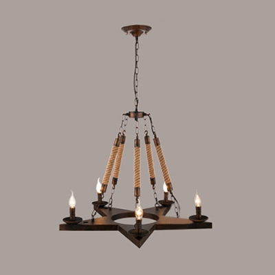 Industrial Vintage 28''W Chandelier with Hanging Rope in Rust, 5 Light
