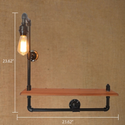 Industrial 23.62''W Pipe Wall Sconce with Wooden Shelf in Bare Bulb Style