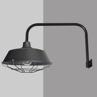 Industrial Wall Light with 15.75''L Fixture Arm and Metal Cage, Black