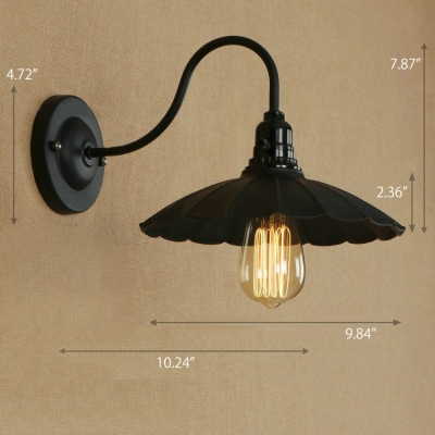 Industrial Wall Sconce with 9.84''W Scalloped Metal Shade and Gooseneck Fixture Arm