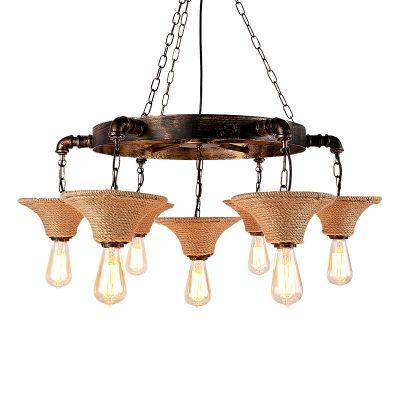 Industrial 27''W Chandelier with Rope in Rust Finish, 7 Light