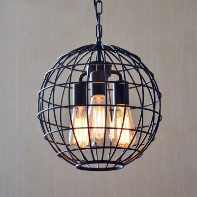 Industrial 3 Light Chandelier 11.81''W with Globe Metal Cage Frame, Black