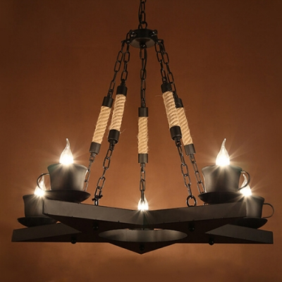 Industrial 5 Light Chandelier with Star Design in Black Finish, 5 Light