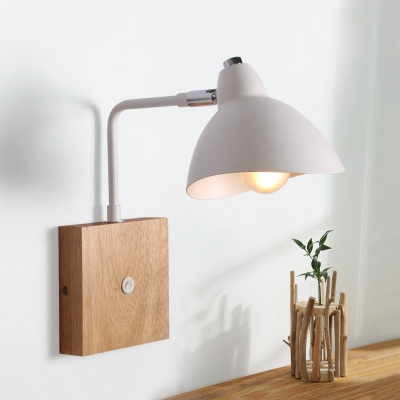 Industrial Wall Sconce with Bowl Metal Shade in Nordical Style