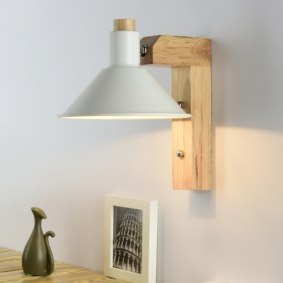 Industrial Wall Sconce with Cone Metal Shade and Wooden Lamp Base