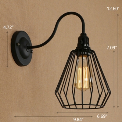 ... Industrial Wall Sconce With Diamond Shape Metal Cage And Gooseneck  Fixture Arm