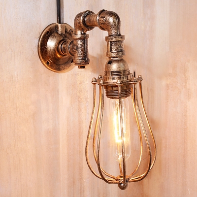 Industrial Pipe Wall Sconce with Metal Cage in Rust Finish