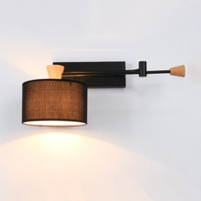 Industrial Wall Sconce with Cylinder Fabric Shade and Adjustable Fixture Arm