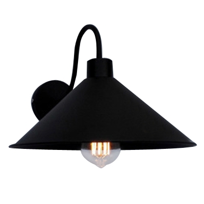 Industrial Wall Sconce with 10.24''W Cone Metal Shade and Gooseneck Fixture Arm, Black