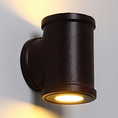 Superior Industrial Wall Sconce With Cylinder Metal Shade In Pipe Style, Black