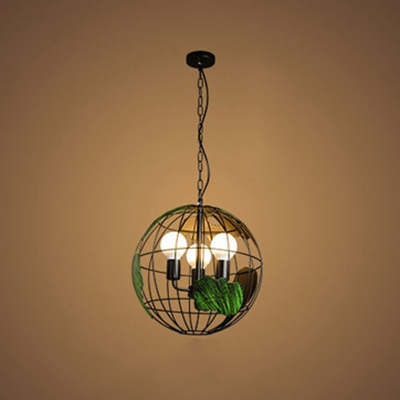 Industrial 15.75''W Chandelier with 3 Light in Black/White