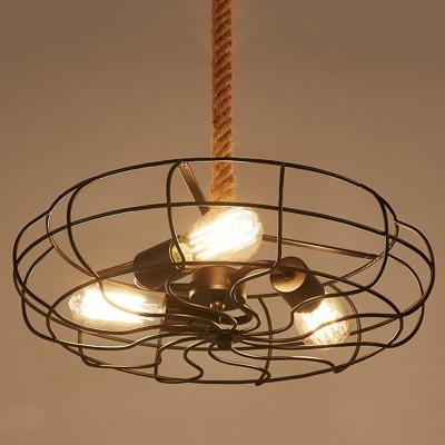 Industrial 18''W Fan Chandelier with Hanging Rope, 3 Light
