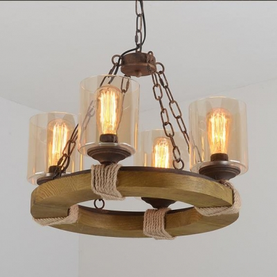 Industrial 21''W Chandelier with Cylinder Glass Shade and Rope Decoration, 4 Light