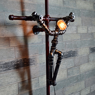 Industrial 24.41''W Pipe Wall Sconce with the Image of Jesus and Cross