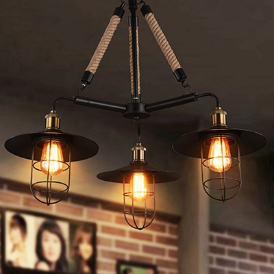 Industrial 31''W Chandelier with Metal Cage in Black Finish, 3 Light