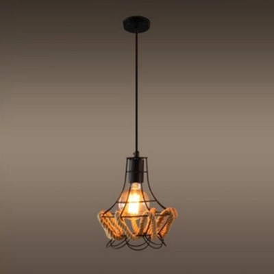 Industrial Rope Pendant Light with Metal Cage, Black