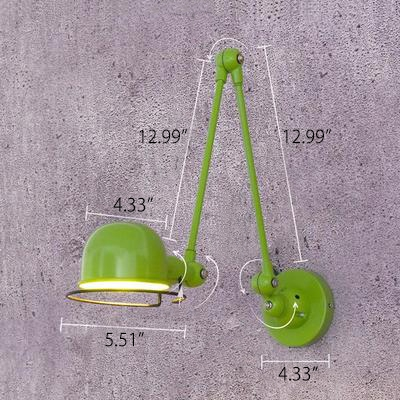 Industrial Wall Sconce with Adjustable Fixture Arm in Red/Green/Chrome Finish