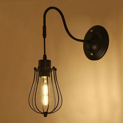 Industrial Wall Sconce with Metal Cage Shade and Gooseneck Fixture ...