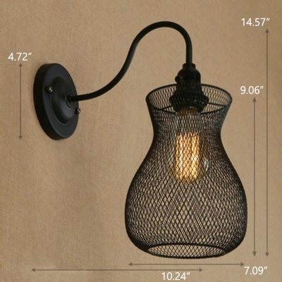 Industrial 7''W Wall Sconce with Metal Mesh and Gooseneck Fixture Arm