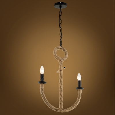 Industrial 2 Light Rope Chandelier 16.5''W with Arched Fixture Arm