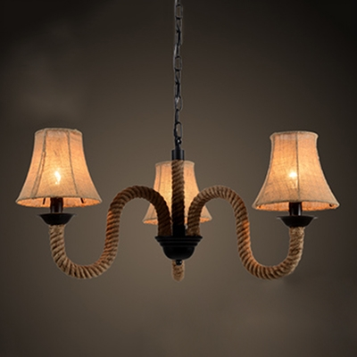 Industrial 3 Light Chandelier with Rope Fixture Arm and Fabric Shade