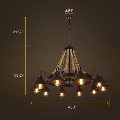 Industrial 43''W Large Chandelier with Rope and Cone Metal Shade in Black, 10 Light