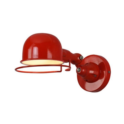 Industrial Wall Lamp with Bowl Shade in Red/Green/Chrome Finish