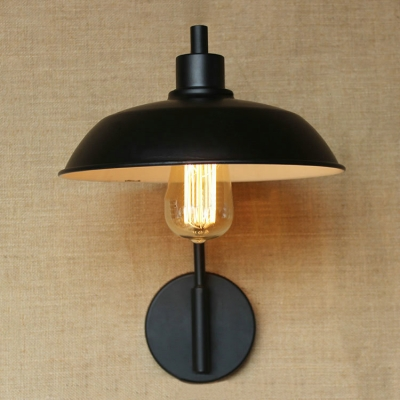Industrial Wall Sconce with 10.24''W Warehouse Metal Shade in Black Finish