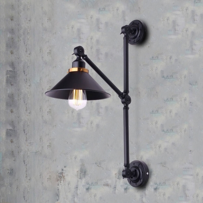 Wall Lights With Adjustable Arms : Industrial Wall Sconce with Adjustable Fixture Arm in Black Finish - Beautifulhalo.com