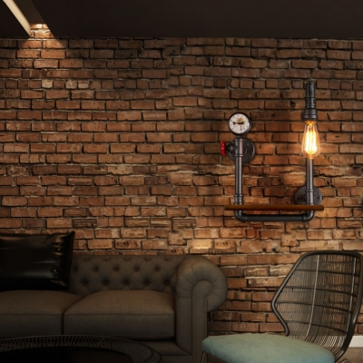 Industrial Wall Sconce with Pressure Gauge and Wooden Shelf in Black