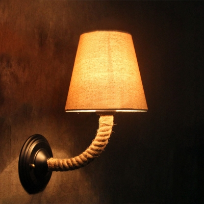 Industrial Wall Sconce with Rope Fixture Arm and Fabric Shade - Beautifulhalo.com