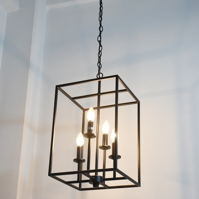 Industrial 12w chandelier with square metal cage in black 4 light industrial 12w chandelier with square metal cage in black 4 light aloadofball Gallery