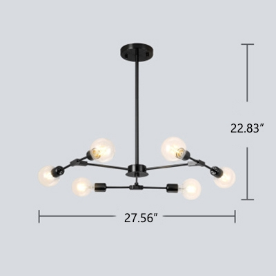 Industrial 6-Light Chandelier in Open Bulb Style, Black