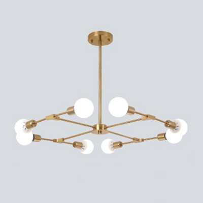 Industrial 8-Light Chandelier in Bare Bulb Style, Gold