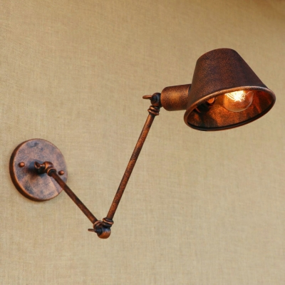 Industrial Adjustable Wall Sconce with Drum Shape Metal Shade, Rust