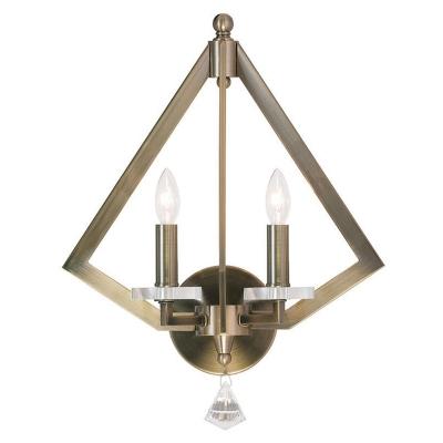 Industrial 2-Light Chandelier in Vintage Style, Black/Gold/Silver