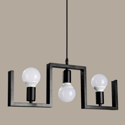 Industrial 3-Light Chandelier 22.5''W in Open Bulb Style, Black