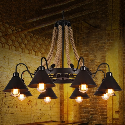 Industrial 37''W Chandelier with Gooseneck Fixture Arm and Metal Shade in Black, 8 Light
